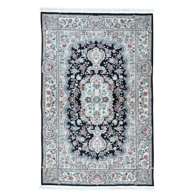 Savonnerie Louis Philippe Hand-Knotted Black Area Rug