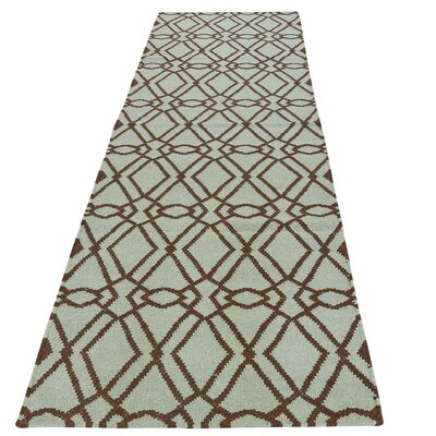 Reversible Mint Durie Kilim Hand-Knotted Wool Green Area Rug