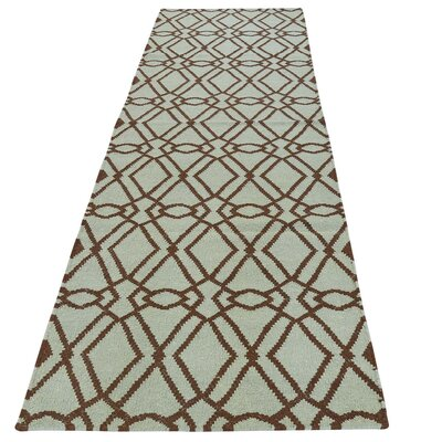 Reversible Flat Weave Durie Kilim Hand-Knotted Wool Green Area Rug
