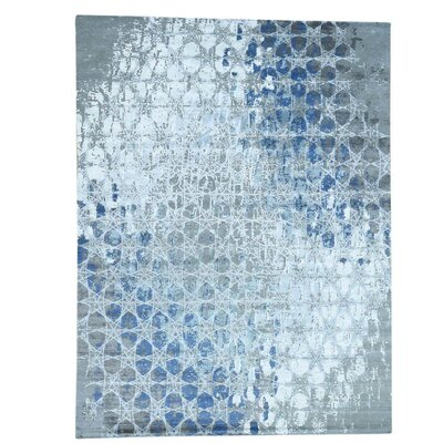 Award Winning Honeycomb Oriental Hand-Knotted Silk Gray Area Rug