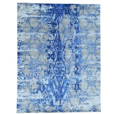 Hi and Low Abstract Hand-Knotted Silk Blue Area Rug