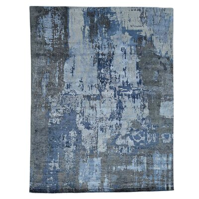 Abstract Hi and Low Hand-Knotted Silk Gray Area Rug