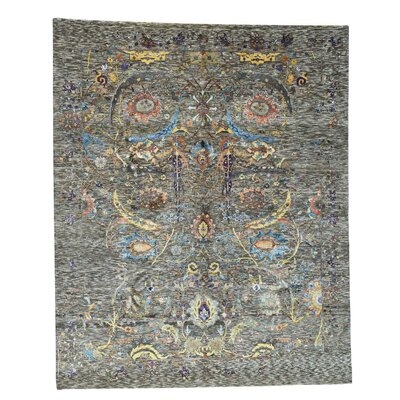 Ancient Motifs Oriental Hand-Knotted Silk Gray Area Rug