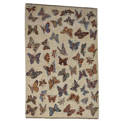 Butterflies Oriental Hand-Knotted Ivory Area Rug