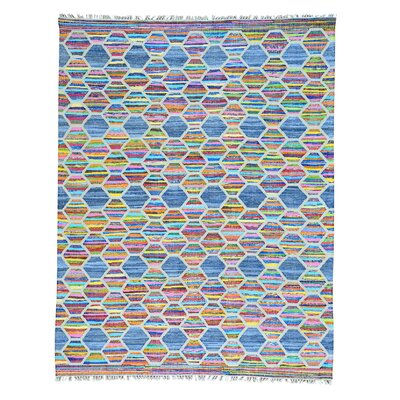 Flat Weave Kilim Hand-Knotted Blue/Pink Area Rug