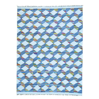 Flat Weave Kilim Oriental Hand-Knotted Cotton White/Blue Area Rug