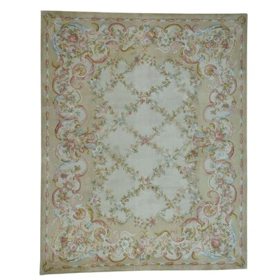 Floral Trellis and Plush European Savonnerie Hand-Knotted Beige Area Rug