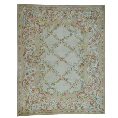 Savonnerie Floral Trellis and Plush Hand-Knotted Beige Area Rug
