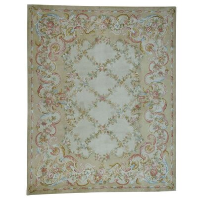 Floral Trellis and Plush Savonnerie Hand-Knotted Beige Area Rug