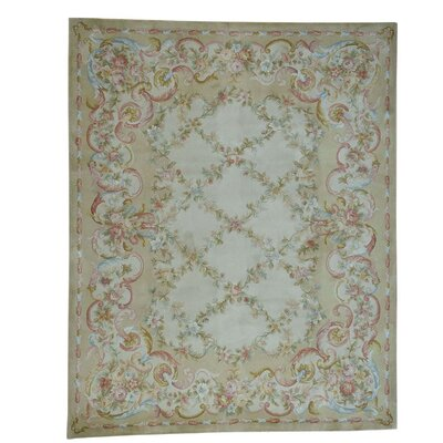 Plush Savonnerie Floral Trellis Hand-Knotted Beige Area Rug