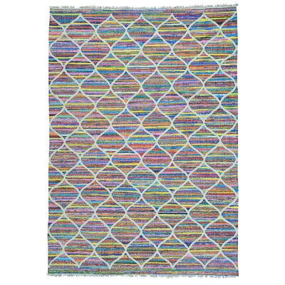 Kilim Oriental Hand-Knotted White/Pink Area Rug