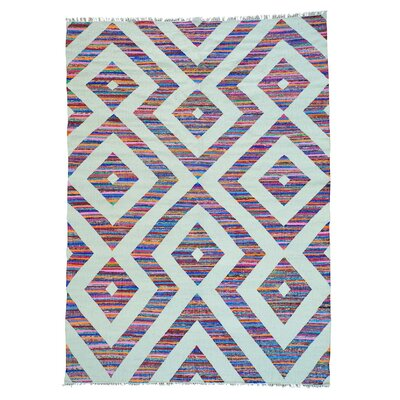 Geometric Flat Weave Kilim Hand-Knotted White/Purple Area Rug