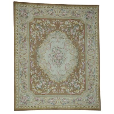 European Savonnerie and Plush Floral Trellis Hand-Knotted Brown Area Rug