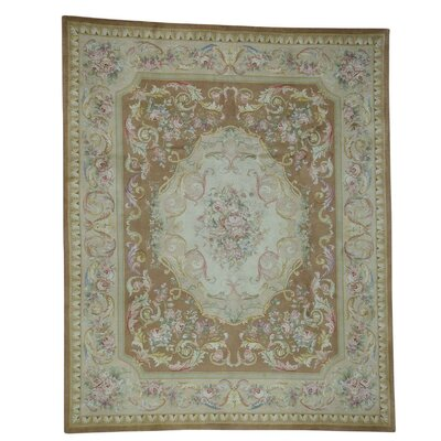 Plush Floral Trellis European Savonnerie Hand-Knotted Brown Area Rug