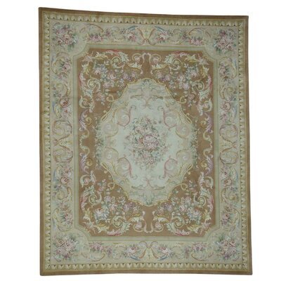 Plush Floral Trellis Savonnerie Hand-Knotted Brown Area Rug