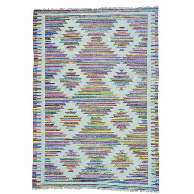 Kilim Geometric Hand-Knotted Cotton White/Pink Area Rug