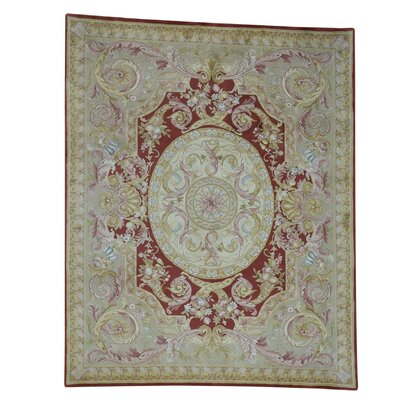 Savonnerie and Plush Napoleon III Hand-Knotted Red Area Rug