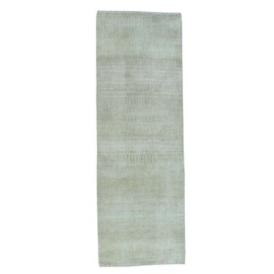 Nepali Tone-on-Tone Hand-Knotted Silk Beige Area Rug