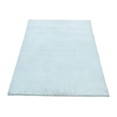 Nepali Tone-on-Tone Hand-Knotted Silk Ivory Area Rug