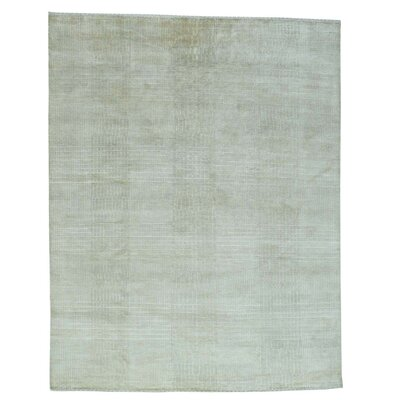 Tone-on-Tone Nepali Hand-Knotted Silk Beige Area Rug