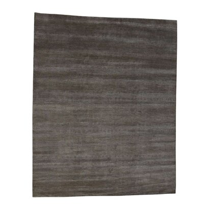 Grass Oriental Hand-Knotted Silk Gray Area Rug