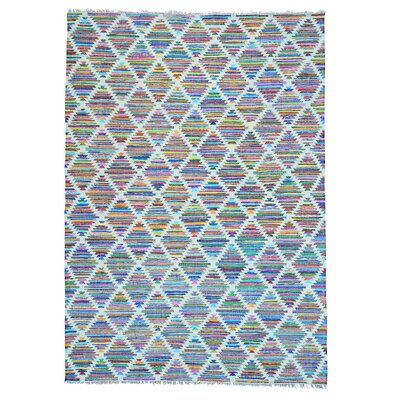 Flat Weave Kilim Geometric Hand-Knotted Cotton White/Purple Area Rug