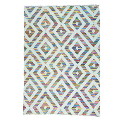 Flat Weave Kilim Oriental Hand-Knotted White/Purple Area Rug