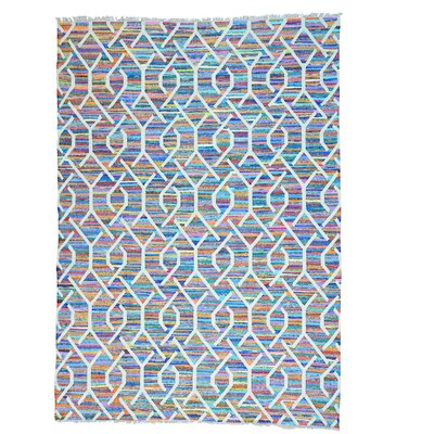 Kilim Oriental Hand-Knotted White/Purple Area Rug