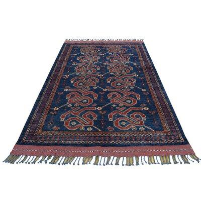Afghan Ersari Oriental Hand-Knotted Blue Area Rug