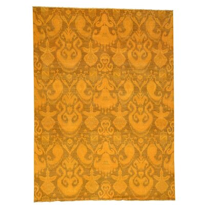 Overdyed Ikat Oriental Hand-Knotted Wool Orange Area Rug