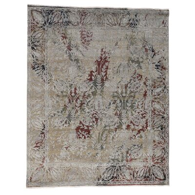 Oidized Broken Tulip Oriental Hand-Knotted Silk Brown Area Rug