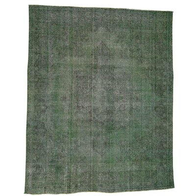 Kerman Worn Overdyed Hand-Knotted Green Area Rug