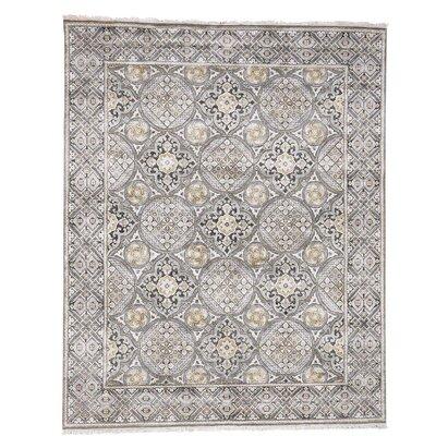 Oidized Mughal Inspi Medallions Hand-Knotted Silk Ivory Area Rug