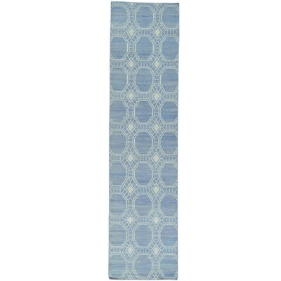 Flat Weave Durie Kilim Reversible Oriental Hand-Knotted Blue Area Rug