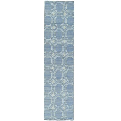 Reversible Flat Weave Durie Kilim Oriental Hand-Knotted Blue Area Rug
