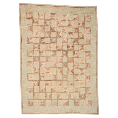 Tibetan Roman Key Oriental Hand-Knotted Silk Beige Area Rug