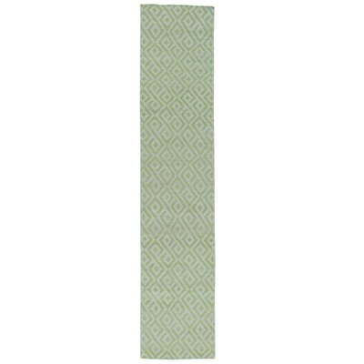 Reversible Flat Weave Durie Kilim Hand-Knotted Green Area Rug