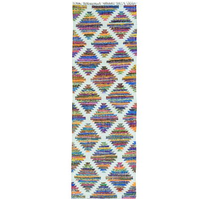 Geometric Kilim Oriental Hand-Knotted White/Purple Area Rug