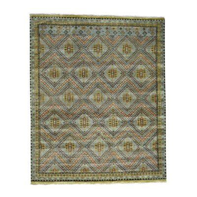 Qashqai Oriental Hand-Knotted Silk Gray Area Rug