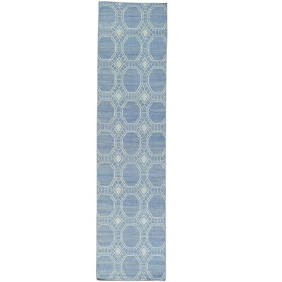 Reversible Flat Weave Durie Kilim Hand-Knotted Blue Area Rug