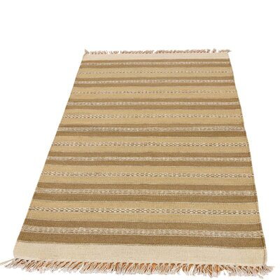 Striped Durie Kilim Oriental Hand-Knotted Wool Light Brown/Beige Area Rug