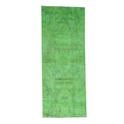 Ikat Overdyed Oriental Hand-Knotted Green Area Rug