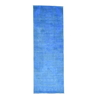 Cast Ikat Overdyed Hand-Knotted Blue Area Rug