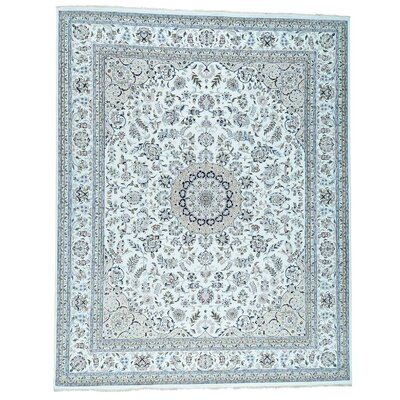300 KPSI Nain Hand-Knotted Silk Ivory Area Rug