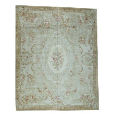 Plush European Savonnerie Charles Hand-Knotted Ivory Area Rug