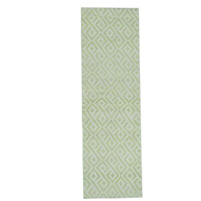 Reversible Kilim Flat Weave Hand-Knotted Green Area Rug