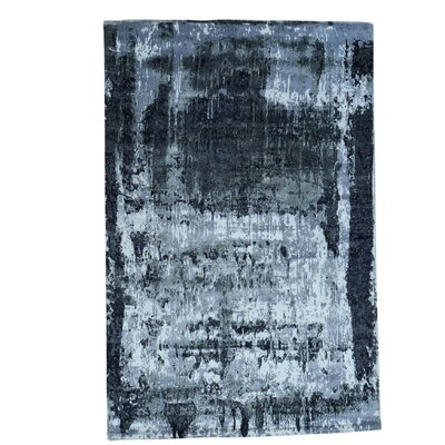 Hi and Low Abstract Hand-Knotted Silk Black Area Rug