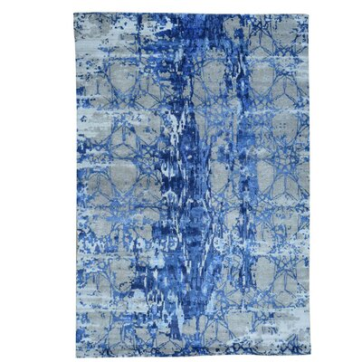 Abstract Oriental Hand-Knotted Silk Blue Area Rug