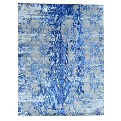 Hi and Lo Abstract Hand-Knotted Silk Blue Area Rug