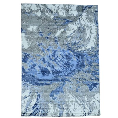 Abstract Hi and Low Hand-Knotted Silk Blue Area Rug